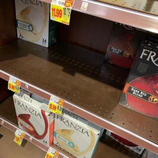 Doomsday prepping at Kroger. Don't forget the box wine!