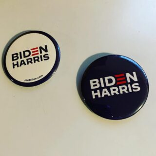 Got buttons today! Did not get the vinyl stickers I ordered though 😟 Joe may not have been my first choice, but we gotta get Joe elected! Love Kamala!